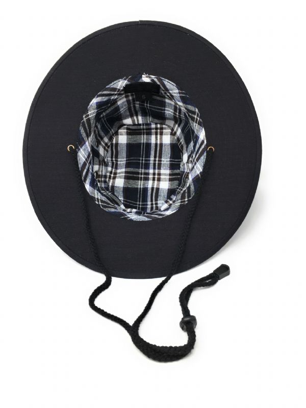 Cotton Summer Sun Hat with Chin Strap - Navy - Rambler